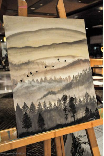 Misty Mountains - the painting we had to recreate.